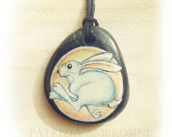 Bunny   Handpainted Pendant rock painted handpainted stone miniature