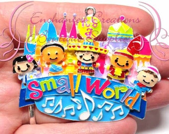 """2.5"""" x 2"""" Small World Inspired Charm, Countries, Multicolor, Chunky Pendant, Keychain, Bookmark, Zipper Pull, Chunky Jewelry, Purse Charm"""
