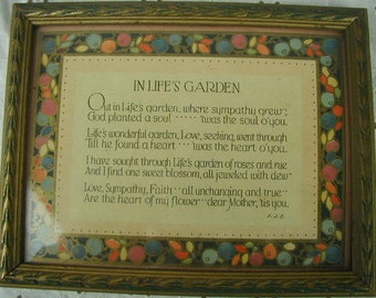 """Very Vintage Framed Motto Picture, """"Dear Mother"""", Dated 1925, Very Sentimental, Ornate Frame, Mother's Day Gift"""
