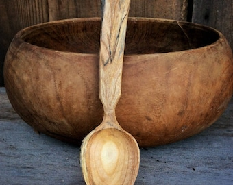 Hand Carved Wooden Spoon Wooden Eating Spoon Ornamental Cherry Spoon Christmas Gift