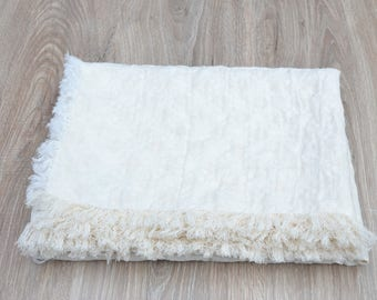 White linen and wool baby blanket, stroller blanket, swaddling blanket, crib blanket, natural baby care,gentle and soft for infants
