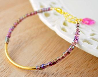 Beaded Bangle, Gold Plated, Purple Metallic Glass Beads, Stacking Bracelet, Sleek Jewelry