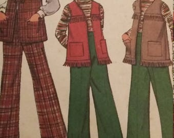 Vintage McCall's 3854 Sewing Pattern Size 6X Vest and Pants