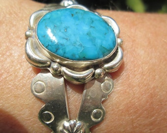 Native American Turquoise and Sterling Silver Stamped Cuff Bracelet