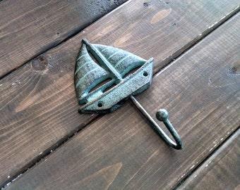 Sailboat Hook | Coastal Coat Hook | Beach Hook | Nautical Hook | Lake House Hook | Cast Iron Hook | Wall Hook | Coat Hook