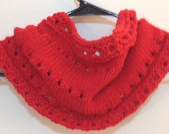 Knit Red Cowl. Lacy Spring Cowl, Scarlet Cowl Scarf, Crimson Red Scarf, Summer Infinity Scarf, Lightweight Red Cowl, Gift for Her