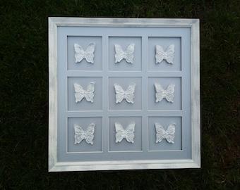 Clay butterfly art, white butterfly wall art, butterfly wall decor, 3d butterfly wall art, clay butterfly wall, silver butterfly decor