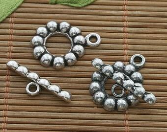 20sets dark silver tone toggle clasp h3531