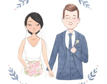 Custom Wedding Portrait Illustration - 8x10 Original Art + Digital File