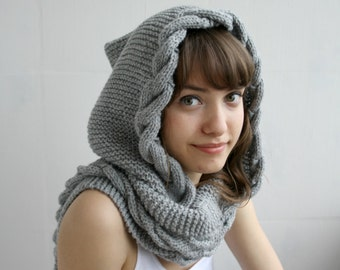 Hand Knit Light Gray Wool Hooded Cabled Long Scarf Cowl Christmas Gift Under USD100