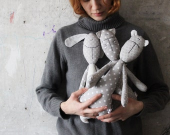 Teddy bear bunny rabbit cat soft toy primitive safe stuffed bear 14' baby shower gift nursery decor