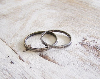 Sterling Ring Set, Couples Rings, Wedding Bands, Promise Rings, Hammered Silver Ring Set