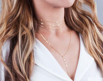 Gold Choker Necklace Set, Necklace Set of 2, Minimal Y lariat Necklace, Layered Choker Necklace, Gold Collar Necklace, Multi Layer Chain
