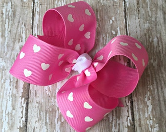 "Pink Heart Hair Bow Valentine Large Hair Bow 4"" Alligator Clip Girls Hairbow Pink Heart Hair Bow Pink Large Bow 4 Inch Pink Hair Bow"
