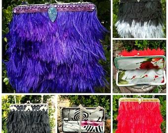 Ostrich Feather Purse, Clutch Purse,  Formal Purse, Shoulder Bag, Kiss Clasp Purse, Prom Accessories, Vintage Style Purse, Custom Made Bag