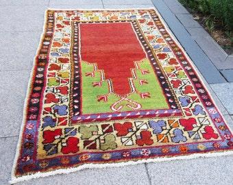 vintage rug small, vintage rug, vintage oushak decor rug, 524