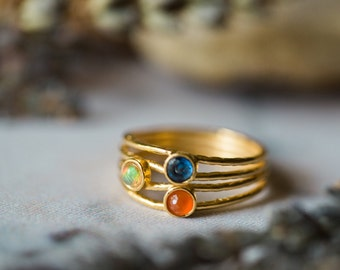 CLEARANCE - Dawn and Dusk Ring - Delicate Gold or Silver Ring, Colorful, Size 6.5 - Kyanite, Opal, Carnelian - Colors of the Sunrise Sunset