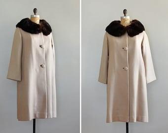 vintage 1950s Greige fur collar coat