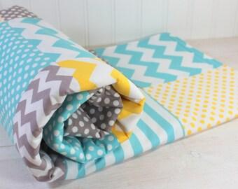 Baby Blanket, Nursery Decor, Minky Baby Blanket, Baby Quilt, Baby Shower Gift, Patchwork Quilt, Baby Bedding, Yellow, Gray, Grey, Aqua