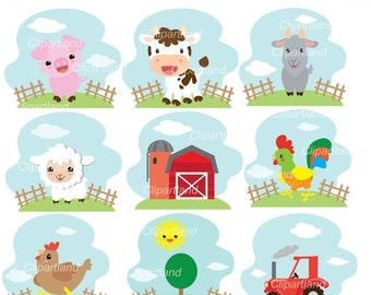 ON SALE INSTANT Download Cf_71_Farm. Farm animal clip art. Personal and commercial use.