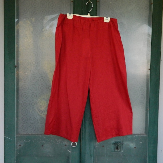 SALE - Eileen Fisher Wide Cropped Pant -L- Red Organic Handkerchief Linen NWT