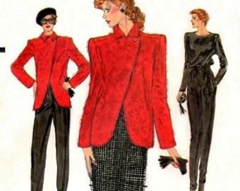 Vogue 7523 Dynamic Head Turning Jacket, Blouse, Skirt & Pants / ca. 1980's SZ8 UNCUT