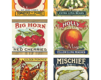 Instant Download - Large Vegetable Labels - Six Vintage Labels - 3 x 3 Inches - Digital Download - Printable