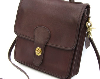 Vintage Coach Station Bag in Mahogany Leather Coach Messenger Bag Crossbody Bag