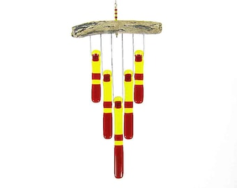 Red and Yellow Glass Wind Chime with Oregon Driftwood