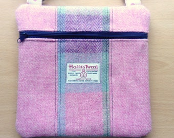 Harris Tweed and Linen Panelled Cross Body Bag, in Gorgeous Pale Pink, Lilac and Green, with External Zip Mobile Pocket & Adjustable Strap