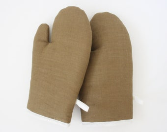Linen oven gloves clay