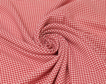 Keira RED Mini Checkered Poly Poplin Fabric by the Yard - 10048