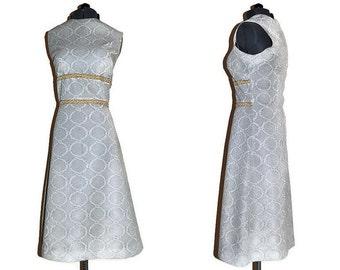 1960's Gold Dress // Crimplene Dress with Gold Band around Waist // Vintage Dress