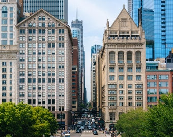 View of buildings along Monroe Street in Chicago, Illinois. Photo Print, Metal, Canvas, Framed.