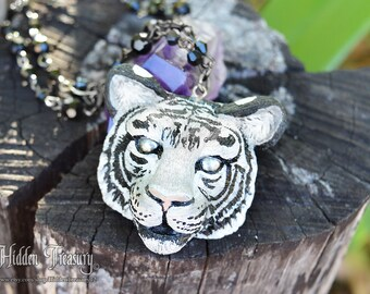 White Tiger Necklace handmade OOAK polymer clay sculpted big cat feline animal totem jewelry