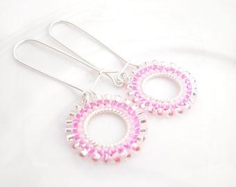 Dangly Hoop Earrings: Seed Bead Hoops,  Pink Dangle Earrings, Small Hoops, UK Seller