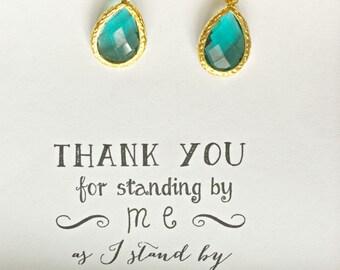 Set of 3 Green Bridesmaid Earrings, Bridesmaid Green Jewelry, Bridal Party Jewelry, Bridesmaid Green Wedding Earrings, ES3