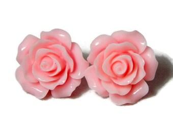 Pink Rose Earrings, Large Flower Studs, Fashion Jewelry, Women's Big Resin Floral Earrings - Light Pink Flower