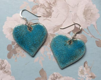 Turquoise & silver ceramic heart earrings