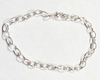 Bulk 100 pcs of Silver plated chain bracelet with lobster clasp 8inch long, bulk finished bracelet for charm bracelet