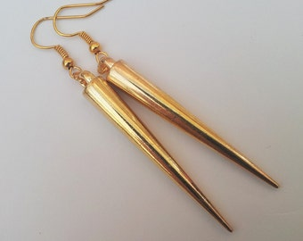 Gold Spike Earrings , Gold Earrings , Dangling Earrings , Dangling Earrings , Bohemian , Bling , Handmade Jewellery , Handmade Gift