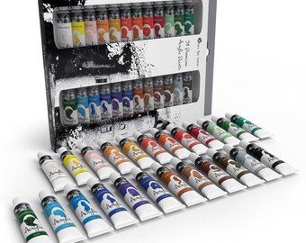 Art Supplies Acrylic Paint Set for Beginners, Students or Artists, 12 ml Tube, Set of 24 Vivid Unique Colors