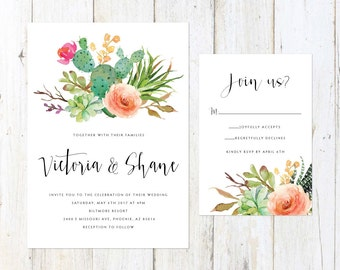 Cactus and Succulent Invitation, Desert Wedding Invitation, Arizona Invitation, Palm Springs Invitation
