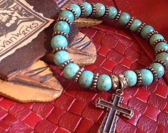 Cross Bracelet Turquoise Bracelet Boho Chic bracelet Cowgirl Western Jewelry