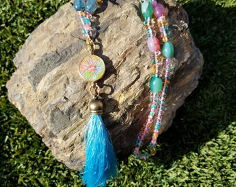 Starflower Tassel Necklace / gift idea / one of a kind
