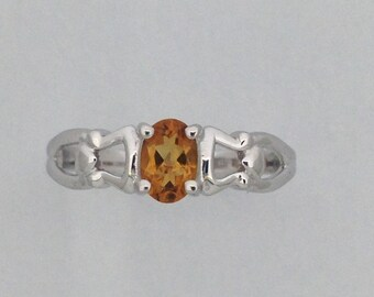 Oval Shape Natural Citrine Ring 925 Sterling Silver