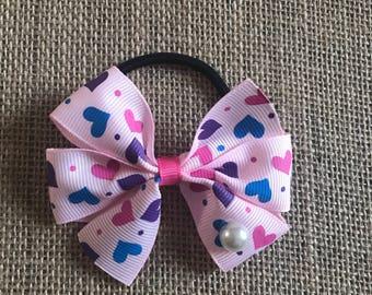 Pink hair tie blue Purple Heart girl birthday party baby shower babyangelwithlove spring summer back to school