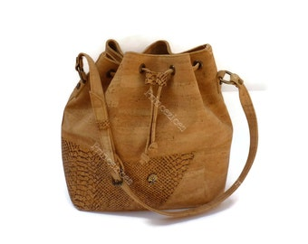 Handmade cork bag Bucket bag style