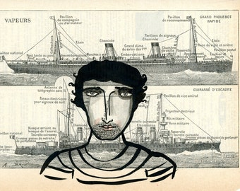 Sexy Sailor- Archival Print,Nautical Print, Boat Print, Sailor