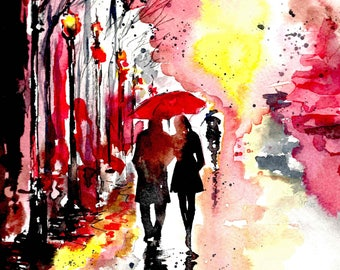 New York Love Watercolor Painting, Art Print of Central Park at Night, Romantic Watercolor Art Print, Wanderlust Illustration by Lana Moes
